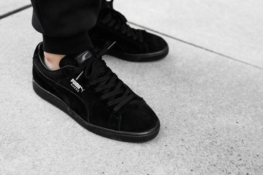 Puma Suede All Black On Feet