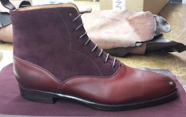 Wedgwood Boot in Burgundy Calf/Burgundy Suede